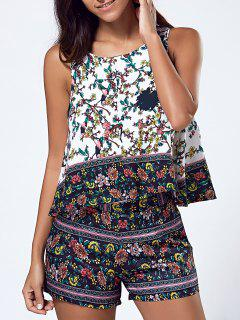 Sleeveless Round Neck T-Shirt And Printed Shorts Twinset - S