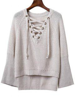Lace Up V Neck Long Sleeve Sweater - Light Gray