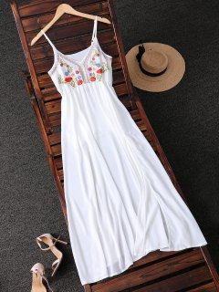 Embroidered Maxi Chiffon Dress - White