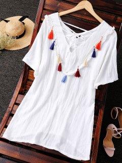 Tassel Back Straight Dress - White
