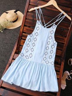 Embroidered Crisscross Strap Dress - Light Blue S