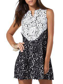 Sleeveless Color Block Lace Mini Dress - White And Black S