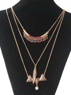 Faux Pearl Sweater Chain - Golden