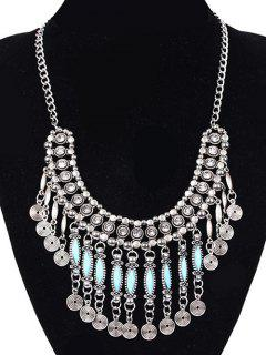 Coin Tassel Faux Gem Necklace - Silver