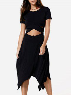 Cut Out Black Short Sleeve Dress - Black S