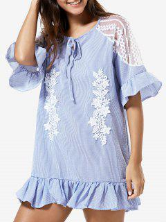 Lace Splice Half Sleeve Ruffled Dress - Light Blue S