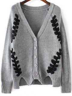 Twist Braided V Neck Long Sleeve Cardigan - Gray