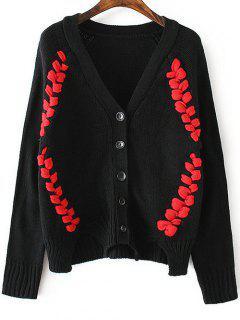 Twist Braided V Neck Long Sleeve Cardigan - Black