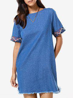 Embroidery Round Neck Denim Dress - Denim Blue S