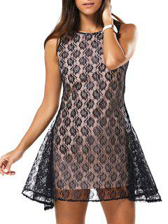 Full Lace Round Neck Sleeveless Dress - Black S