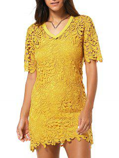 Robe En Dentelle Creuse Col En V Et Cami Dress Twinset - Jaune