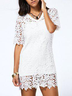 Hollow V Neck Lace Dress And Cami Dress Twinset - White