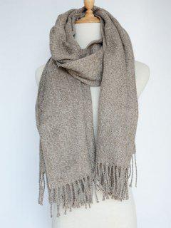 Tassel Knitted Wrap Scarf - Camel