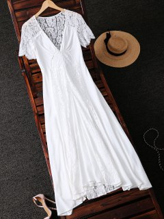 Bohemian Lace Spliced Plungng Neck Dress - White Xl