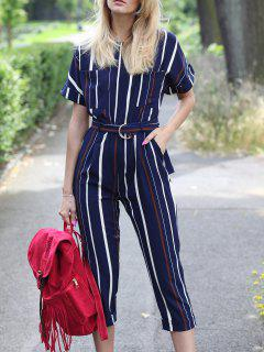 Striped Round Neck Short Sleeve Jumpsuit - Stripe S