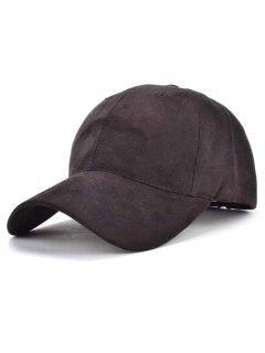 Faux Suede Letter Baseball Hat - Black