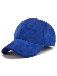 Casquette De Baseball En Faux Suede Avec Lettre - Bleu Saphir