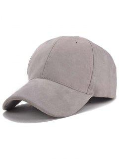 Faux Suede Letter Baseball Hat - Gray