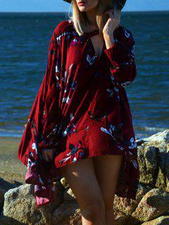 Keyhole Neckline Floral Long Sleeve Dress - Wine Red M