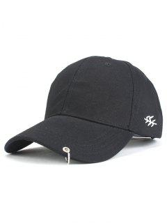 Metal Ring Baseball Hat - Black
