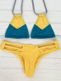 Color Block Stringy Bikini Set - Blue And Yellow L