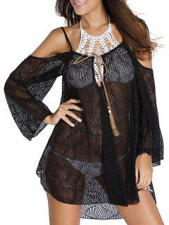 Hollow Cami Off The Shoulder Cover Up Dress - Black S