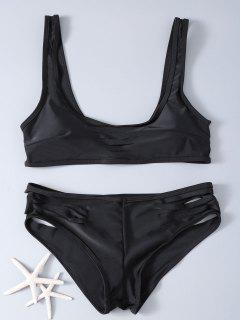 Hollow Out Solid Color Bikini Set - Black S