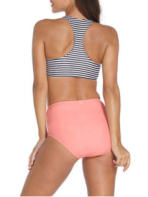 lady Striped High Neck High Waisted Tankini - STRIPE L Mobile