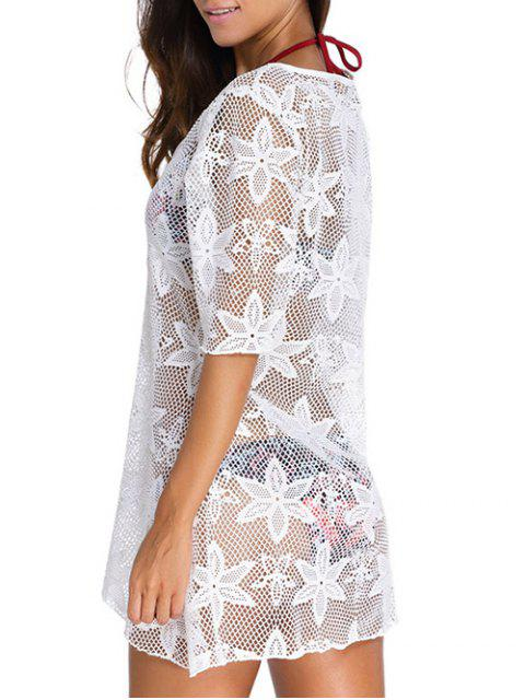 ladies Hollow Out V Neck Cover Up Dress - WHITE M Mobile