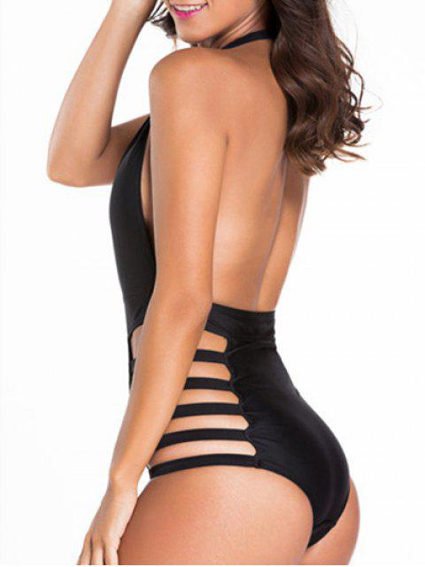 affordable Hollow Halter Neck Black One-Piece Swimwear - BLACK M Mobile
