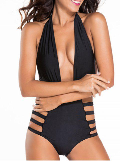 buy Hollow Halter Neck Black One-Piece Swimwear - BLACK S Mobile