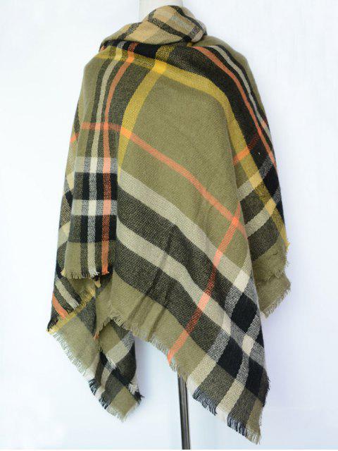 écharpe de châle à motif écossais - Vert Foncé  Mobile