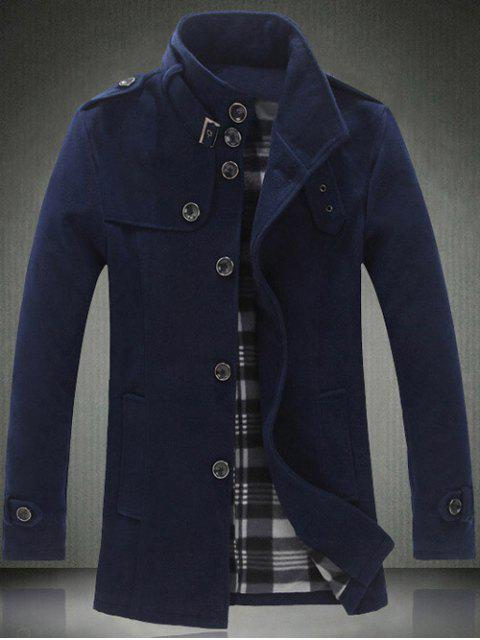ladies Elegant Stand Collar Slim Single Breasted Wool Overcoat For Men - CADETBLUE 5XL Mobile