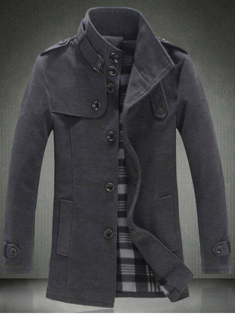 hot Elegant Stand Collar Slim Single Breasted Wool Overcoat For Men - GRAY 5XL Mobile