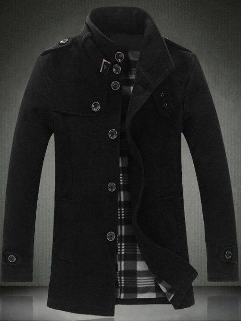shop Elegant Stand Collar Slim Single Breasted Wool Overcoat For Men - BLACK 2XL Mobile