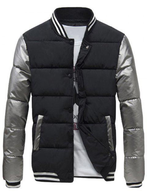 Bouton Varsity snap couleur épissé manteau rembourré pour les hommes - Noir 3XL Mobile