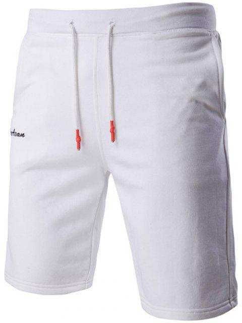 ladies Casual Letter Embroidered Drawstring Waistband Shorts For Men - WHITE M Mobile