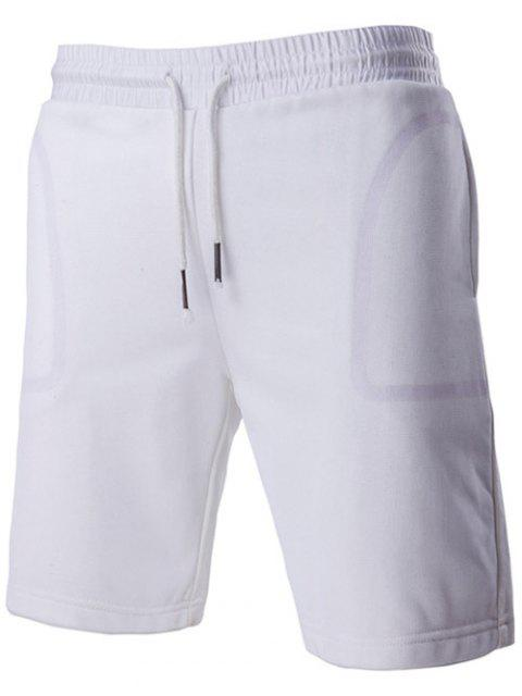 new Brief Style Transparent Pocket Design Drawstring Waistband Shorts For Men - WHITE L Mobile