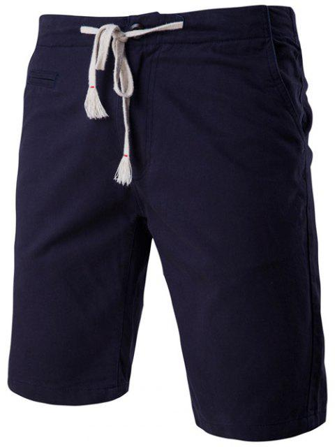 womens Fashion Faux-Pockets Design Drawstring Waistband Shorts For Men - CADETBLUE XL Mobile