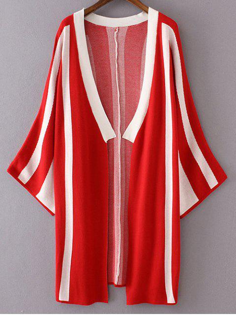 Rayas de manga larga delgada Cardigan - Rojo Talla única Mobile