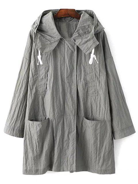 Bolsillos de la chaqueta con capucha de manga larga Trench - Gris Claro L Mobile