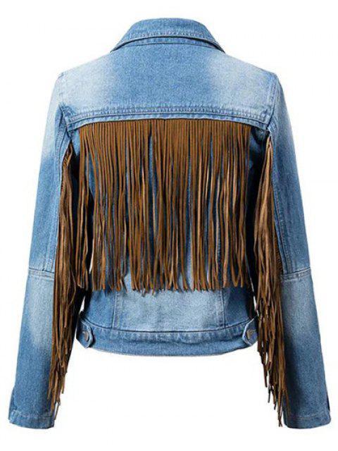 Borlas camisa empalmado de cuello de la chaqueta del dril de algodón - Azul S Mobile