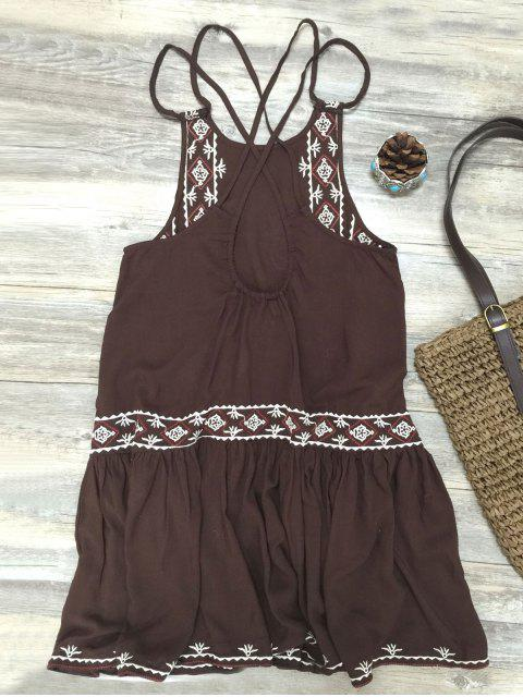 shop Embroidered Crisscross Strap Dress - COFFEE L Mobile