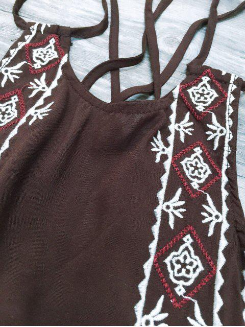 shops Embroidered Crisscross Strap Dress - COFFEE M Mobile