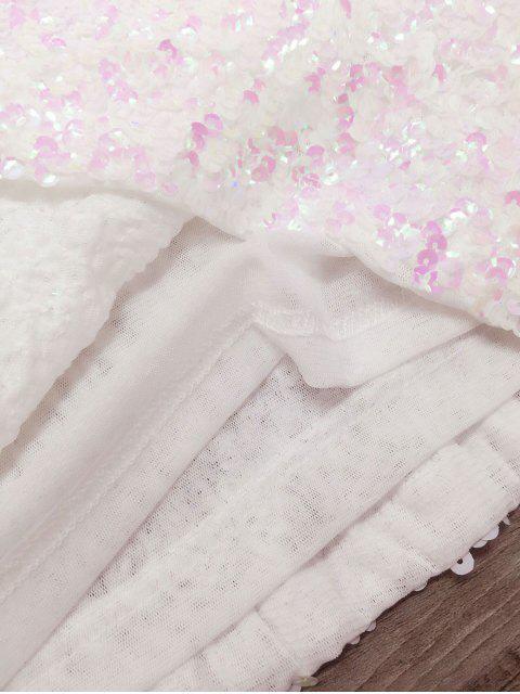 affordable Mini Slip Sequins Dress - WHITE ONE SIZE Mobile
