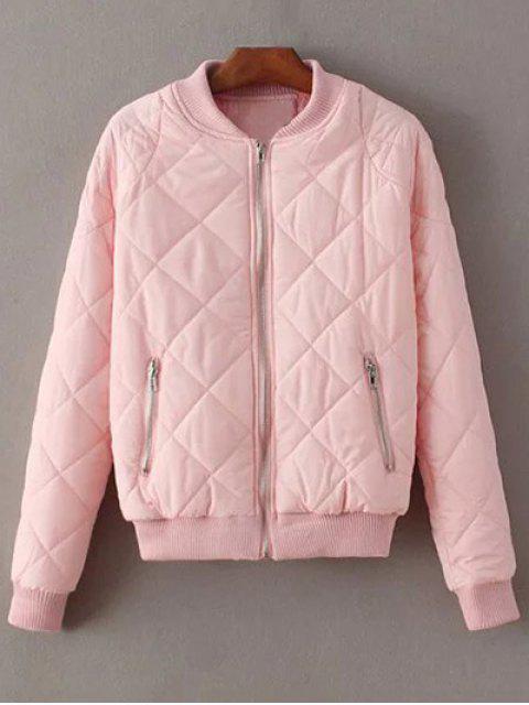 best Argyle Stand Neck Solid Color Jacket - PINK M Mobile