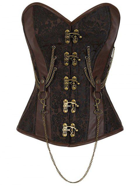 latest Beam Waist Punk With Chain PU Croset - BROWN L Mobile