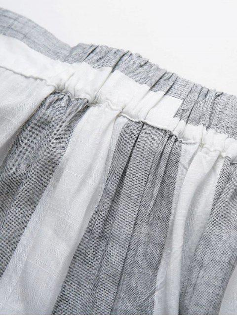 hot Asymmetric High Waisted Striped Pants - GRAY M Mobile