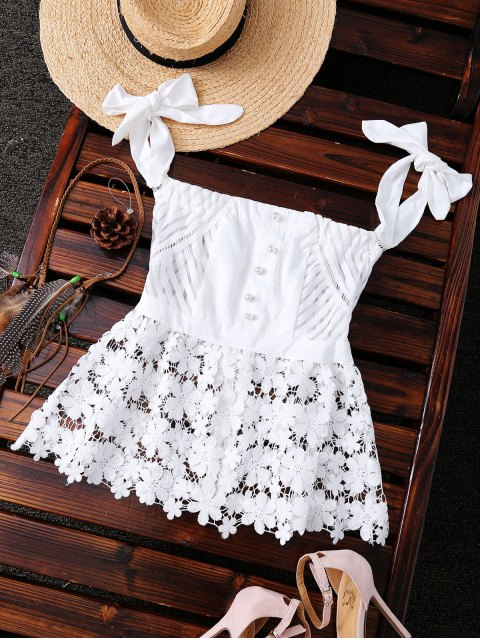 buy Bare Shoulder Lace Top - WHITE M Mobile