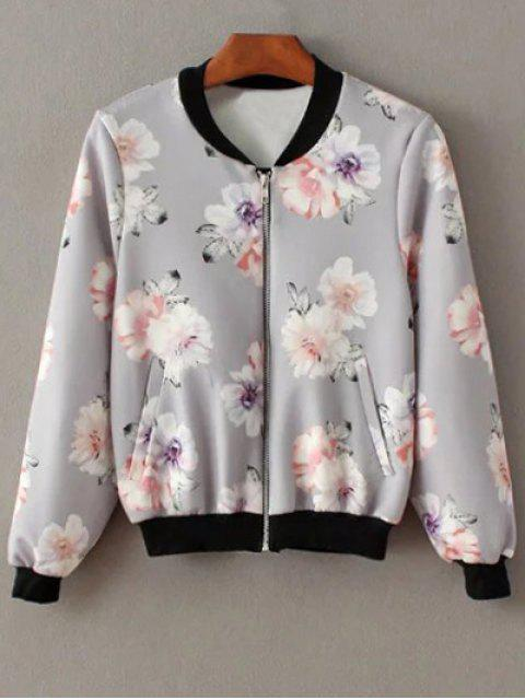 shops Floral Print Stand Neck Jacket - GRAY S Mobile